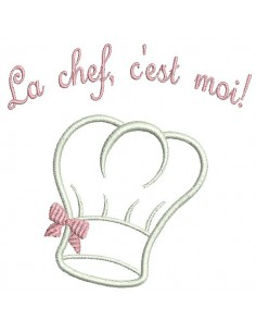 Instant download machine embroidery design applique toque chef