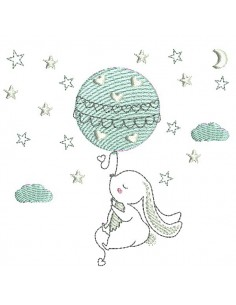 Instant download machine embroidery rabbit and bear  on a moon