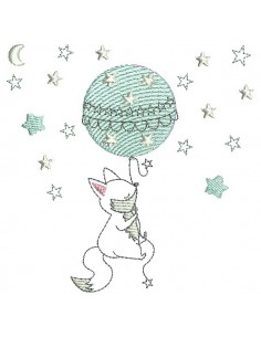 Instant download machine embroidery rabbit flying on a balloon