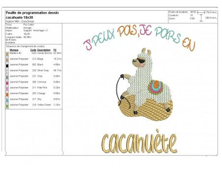 Motif de broderie machine texte humour j'peux pas je pars en cacahuète