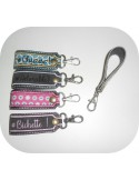 Instant download machine embroidery ith long keychain customizable