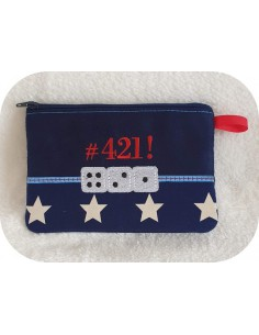 Instant download machine embroidery   ith zip purse dice games 421