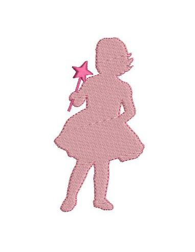 Motif de broderie fillette baguette magique