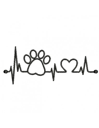 Instant download machine embroidery  heart dog paw