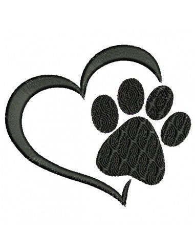Instant download machine embroidery  love  dog paw