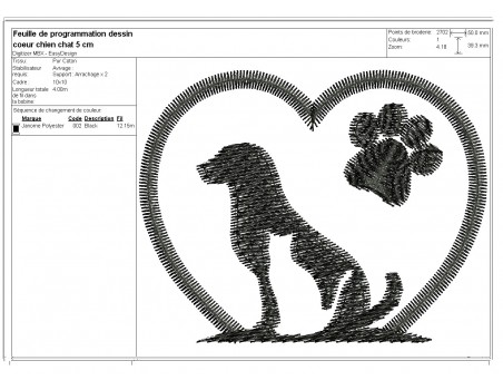 Instant download machine embroidery  heart dog  and cat paws