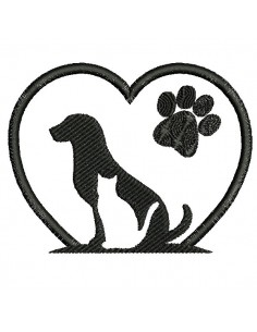 Motif de broderie machine  coeur chien chat