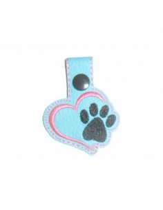 machine embroidery design  heart dog or cat paw  keychains ith