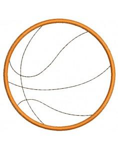 Motif de broderie machine ballon de basket appliqué