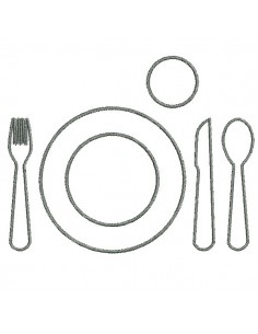Instant download machine embroidery  design cutlery set