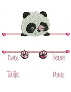 instant download machine embroidery design customizable birth journal girl panda