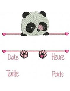 Motif de broderie machine  panda  journal de naissance fille
