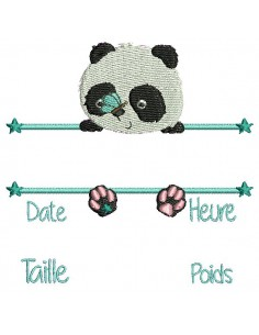 instant download machine embroidery design customizable birth journal boy  panda