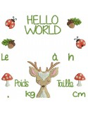 instant download machine embroidery design customizable birth journal  fox boho