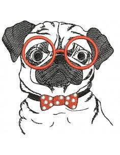 Motif de broderie machine carlin avec ses lunettes