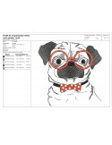 Instant download machine embroidery dog carlin with his music headphones