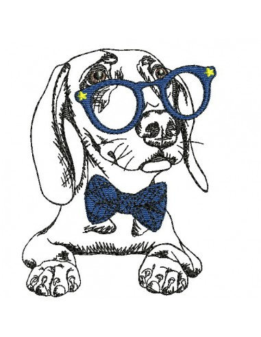 Instant download machine embroidery  pug dog with glasses