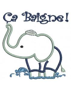 Motif de broderie machine  Eléphant baigneur Appliqué