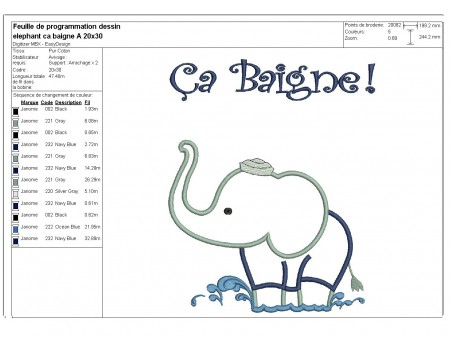 Instant download machine embroidery bather elephant