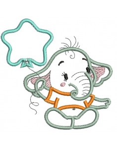 Instant download machine embroidery applique  elephant with balloon