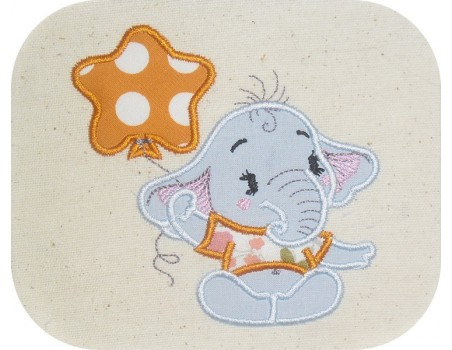 Instant download machine embroidery applique bather elephant