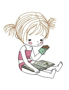 Motif de broderie machine petite fille lisant et mangeant du chocolat