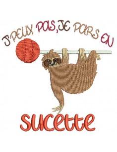 Embroidery design text I can't I go peanut with a lama