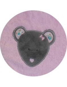 Motif de broderie machine tête de souris appliqué