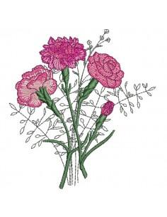 Motif de broderie machine  bouquets d'oeillets