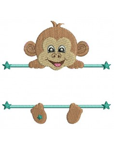 Instant download machine embroidery monkey to customize for boy