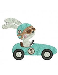 Motif de broderie machine  lapin dans sa voiture de course