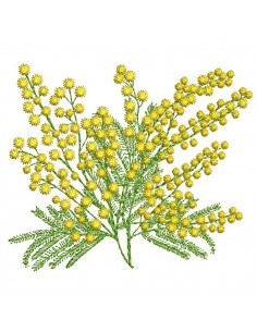 Motif de broderie machine  branche de mimosa