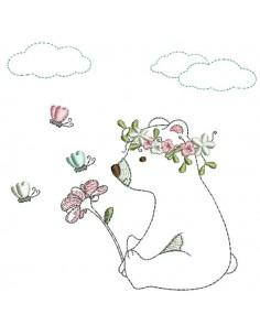Motif de broderie machine  petit ourson avec sa fleur