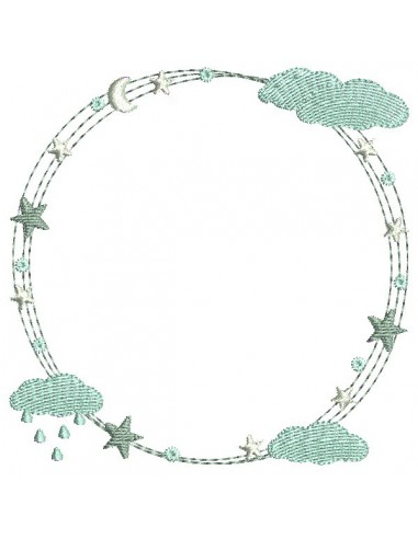 Instant download machine embroidery design stars frame