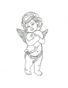 Instant download machine embroidery  angel with a heart