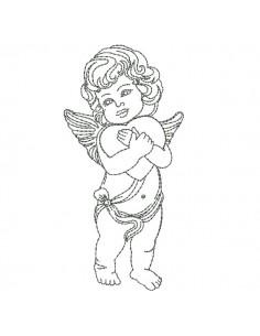 Motif de broderie machine petit  ange avec un coeur