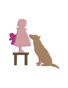 Motif de broderie fillette au chien