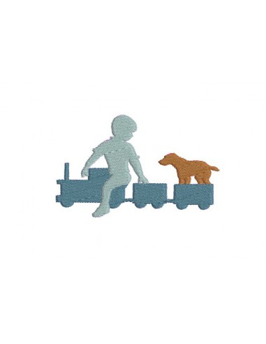 Motif de broderie garçon au train