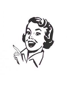 Motif de broderie machine visage femme rétro