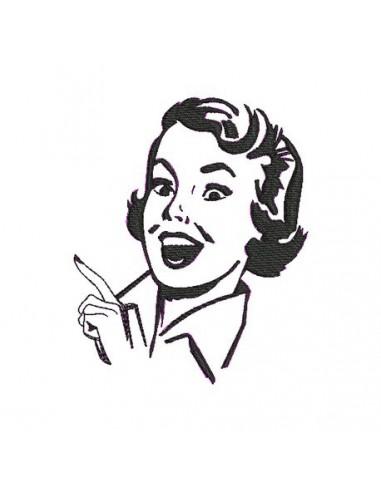 Motif de broderie visage femme rétro