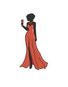 Motif de broderie  machine femme élégante