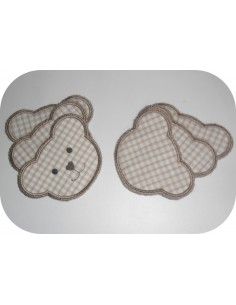 Instant download machine embroidery design ith reusable bear head cotton wipes
