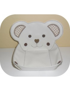 Instant download machine embroidery design ith bear head box