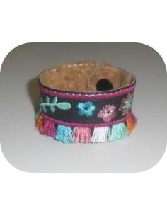 Motif de broderie machine ITH bracelet  bohème avec  pompons