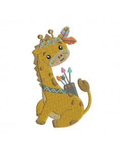 Motif de broderie machine girafe indienne
