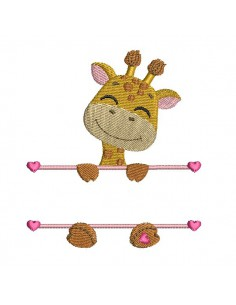 Instant download machine embroidery giraffe to customize for girl