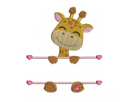 Motif de broderie machine girafe  prénom fille