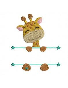 Motif de broderie machine girafe  prénom garçon