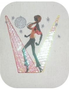 Motif de broderie machine mylar  danseuse disco