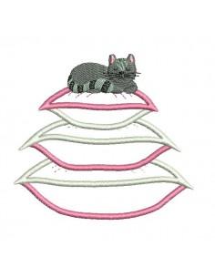 Motif de broderie machine chat sur coussins appliqués
